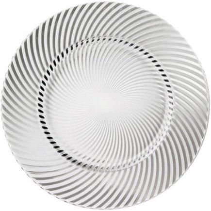 Tálaló üveg klubb tányér 32 cm, Miechelangelo átlátszó - Luigi Bormioli