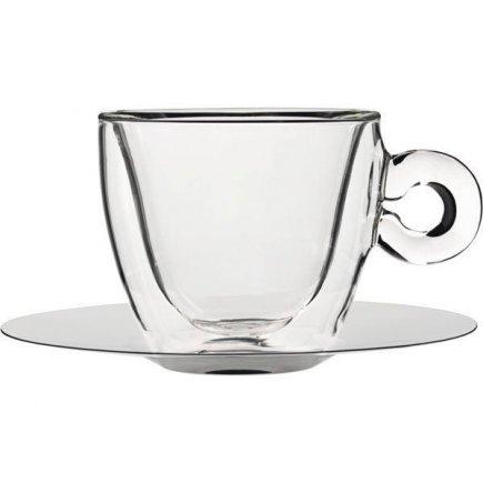 Duplafalú üveg csésze 165 ml + 2 db rozsdamentes cappuccino czészealj, Luige Bormioli