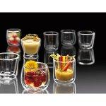 Duplafalú üveg csésze Jumbo 300 ml +  rozsdamentes csészealj, forró italokra alkalmas, Luigi Bormioli