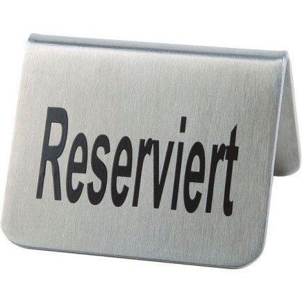 Menü, rezerváció-reserve  készlet, rozsdamentes matt, 3,5x5,5 cm szöveg mindkét oldalon, APS