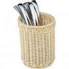 Evőeszköz kosárka, kerek, polyratan, rakásolható, szilárd, mosható, APS