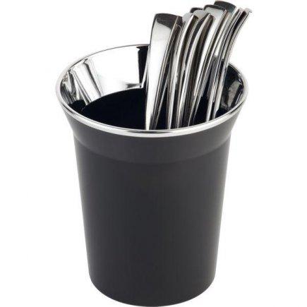 Evőeszköz tartó állvány, asztali szemetes kosár, krómozott szél, fekete, APS