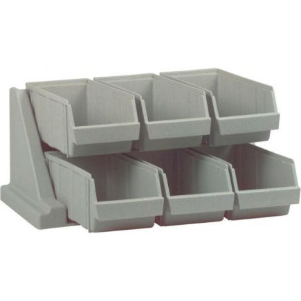 Evőeszköz tartó állvány, 6 rekesz, műanyag, szürke, teherbírás 4,5 kg, állítható vagy falra szerelhető, profi, Cambro