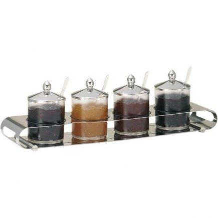 Felszolgáló tálca - bár, lekvár, 4 edény alkalmas mosogatóba 0,6 l, fedéllel, rozsdamentes, műanyag, büfékne, Elegance - Frilich