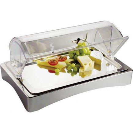 Tálaló hűtőbox a friss élelmiszerre, halra, füstölt húsra, polírozott nemes acél, büféknek, Top Fresch, APS