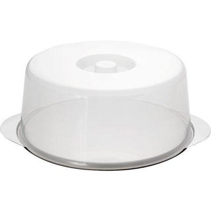 Tálaló torta edény tortákra fedővel, tejszínes fedő, magasság 145 mm, átmérő 335mm