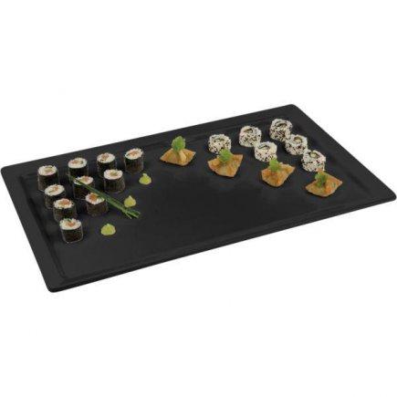 Felszolgáló tálca téglalap alakú APS melamin GN 1/2, melamin, fekete