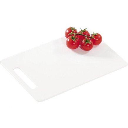 Vágódeszka, 290/195/6, minőségi műanyag (PVC), mosogatógépben mosható, fehér, Kesper