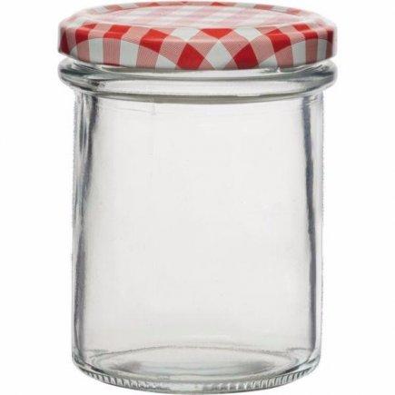 Befőttes üvegek 230 ml, 6 db készlet, fedél kockás, magas Gastro