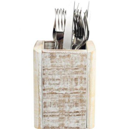 Fa étkészlet tároló 11x11x15 cm, fehér