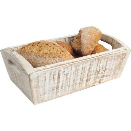 Fa kenyér ládika Gastro 28,7x18x10 cm, fehér