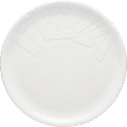 Pizza tányér 32 cm, felirattal PIZZA, fehér, köralakú, Gourmet modell, Gastro