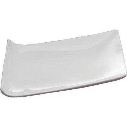 Feslszolgáló tálca, tányér 20x14 cm fehér, porcelán, Trapez Sandra Rich